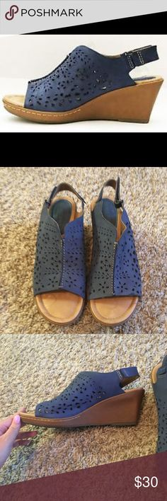 "Montana Blue Slingback Wedges in excellent condition! only worn a few times. no signs of wear. wedge is approximately 3"" Montana Shoes Wedges"
