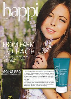 """Epicuren Discovery featured in Happi Magazine in June 2014 issue for Himalayan Superfruit Enzyme Polish! Check out """"From Farm to Face"""" on page 76.  Click HERE for more info. about our Himalayan Superfruit Enzyme Polish:"""