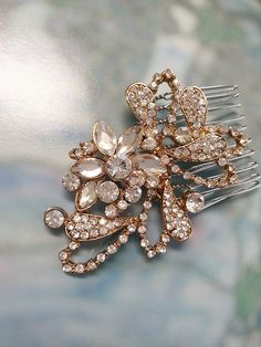 Rhinestone hair comb in gold or silver by One World Designs Bridal Jewelry