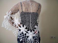 Ivory Warm Mohair ShawlCrochet Wrap Shawl  by kKnittedFashion, $48.00