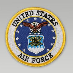 Take pride in the Air Force with the Air Force Patch in full color!&nbsp 3 inches round Embroidered seal design Heat seal on back for easy application Flag Patches, Custom Patches, Air Force Patches, Eagle Emblems, Post War Era, Military Officer, Military Aircraft, Seal Design, Us Air Force