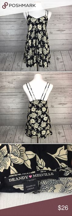 Brandy Melville Selda black/ivory peony print bias cut rayon • double straps • mini dress or tunic-length top depending on your height • OS (open size) but runs short! Brandy Melville Dresses Mini