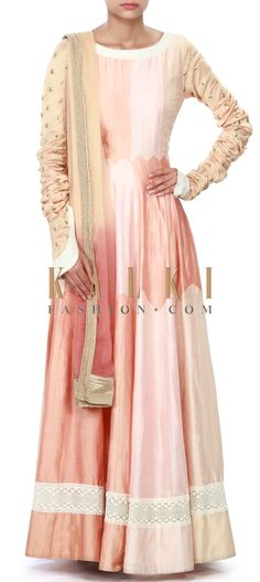 Buy Online from the link below. We ship worldwide (Free Shipping over US$100) Price- $369 Click Anywhere to Tag http://www.kalkifashion.com/peach-anarkali-suit-enhanced-in-embellished-sleeve-only-on-kalki.html