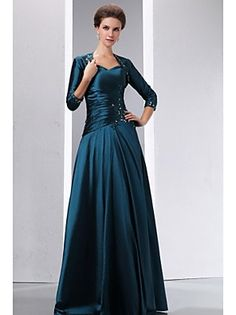 A-line+Mother+of+the+Bride+Dress+Floor-length+3/4+Length+Sleeve+Taffeta+with+Appliques+/+Beading+–+EUR+€+249.90