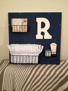 Peg Board Nursery Changing Table Organizer by Peggleboards on Etsy