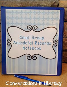 Guided Reading Anecdotal Records Notebook- Organize and Manage Small Groups: keeping organized notes to help you plan more effectively and efficiently for small group reading Guided Reading Binder, Guided Reading Activities, Guided Reading Groups, Reading Notes, Student Reading, Reading Resources, Teaching Reading, Teaching Ideas, Autism Teaching