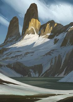 Mountain Study by Steve Kilt (the awesome dragon age concept artist for those cool sketchy looking backgrounds and scenery)
