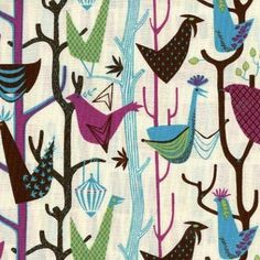 David Textiles, Venice collection, Morning Birds in Cream #hawthornethreads  $8.50/yd.  This totally reminds me of Mary Blair's artwork.  I would attach this to a wood frame and hang it on the wall as art.  LOVE!