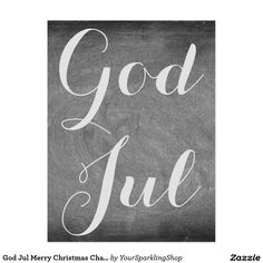 #GodJul Merry #Christmas Chalkboard Typography #Swedish #Norwegian language #Card