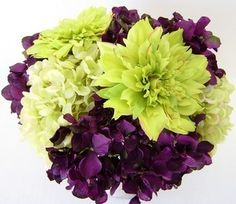 Flowers, Green, Purple, Hydrangea, Dahlia