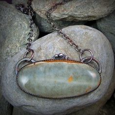 Moss Green Picture Jasper Fine Silver And Sterling Necklace Pendant @Elizabeth Polansky