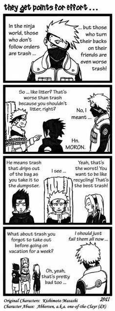 They get points for effort..., text, comic, funny, Team 7, Kakashi, Naruto, Sasuke, Sakura, tree stump, tied, rope, trash; Naruto