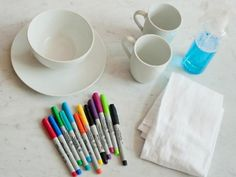 Use Sharpies on dollar store dishes and turn your colorful doodles into permanent dinnerware decorations.  Just bake at 350 degrees for 30 minutes.