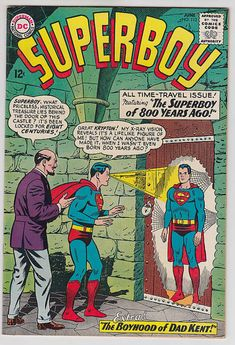 """Superboy (DC, CGC NM Off-white to white pages. """"Superboy Legend"""" in a two-page text - Available at Sunday Internet Comics Auction. Children's Comics, Free Comics, Superman, Tales Of Suspense, Free Comic Books, Silver Age Comics, Vintage Comics, Vintage Magazines, Comic Covers"""