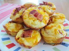 Cheesy Bacon Puffs -- flour, baking powder, garlic powder, salt, pepper, milk, egg, cheddar cheese, bacon