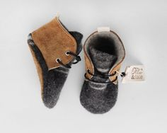Leather and Wool Baby/Toddler Shoes, Slippers, First Walking Shoes by Ollie and Tate On Etsy