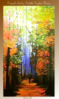 Looks like one of my favorite walks through the forests of Oregon.  Original  4ft by 2ft oil/acrylic painting landscape by artmod, $245.00