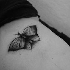 Dimensional butterfly tattoo by Kamil Mokot