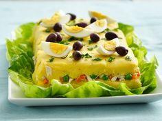 CAUSA RELLENA DE POLLO Y CHOCLO Ingredientes: 05 tzs. puré de papa amarilla, 1/2 tz. ají amarillo molido, jugo de 4 limones, 05 cda...