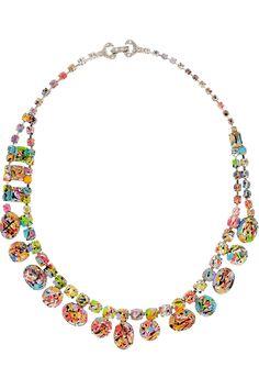 Tom Binns|A Riot of Color glow-in-the-dark Swarovski crystal necklace|NET-A-PORTER.COM