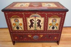 PA Dutch Style Painted Blanket Box with Drawer