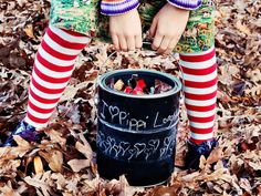 Create a Halloween treat bucket that can be decorated and customized each year to coordinate with a costume or theme. Kids will love this interactive trick-or-treat accessory that can be topped with a lid to safely store their stash.