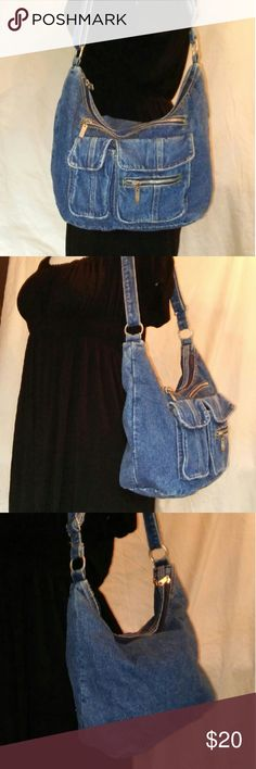 """VINTAGE 80s Denim Bag Authentic 80s Vintage denim hobo shoulder bag.  Excellent condition. All of the zippers work fine. 15"""" x 10"""" with a 16-20"""" strap hang. From a smoke free home. Make an offer! Vintage Bags"""