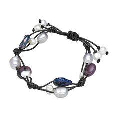 Brățară Valero Pearls perle de cultură albe, gri, indigo, ametist pe piele naturală neagră
