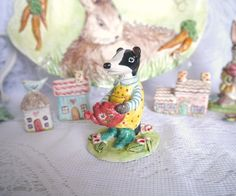 Garden Girl Ceramic Porcelain Badger Figurine