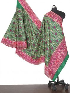 Green and Pink Pure Silk Saree with Resham Work