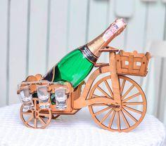 Wine Bottle Bike Holder Home Wine Racks Wine Gift by WoodenLook