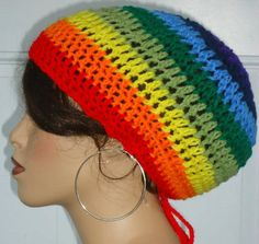 Clearance Rock the Rainbow Crochet Beret Hat Tam by RazondaLee