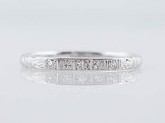 Filigree Jewelers :: Original Antique Late Art Deco .10cttw Full Cut Diamond Wedding Band in 18k White Gold