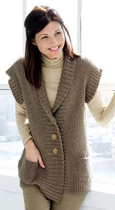 Knitting Pattern for Weekend Vest - #ad Love the shawl collar and pockets. Looks easy. One of 6 patterns in Comfort Knits. More pics at Leisure Arts tba