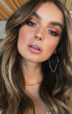 natural glow makeup ideas + brunette balayage hair | brown eyes makeup inspiration