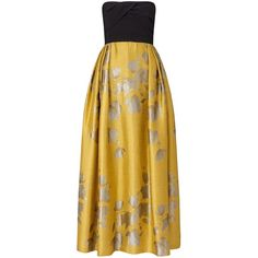 Ariella Gigi Jacquard Skirt Dress, Yellow ($415) ❤ liked on Polyvore featuring dresses, holiday dresses, yellow maxi dress, evening dresses, strapless cocktail dress and brown maxi dress