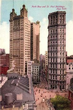 Park Row Building (left), Robert Henderson Robertson, and the St Paul building (right) with its accumulated Ionic columns, George B. New York Architecture, Vintage Architecture, Architecture Images, New York City Buildings, New York City Map, New York Decor, New York Wallpaper, Arch Building, New York People