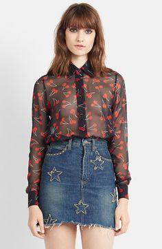 cherries.  st. laurent sheer silk georgette blouse.