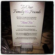 DONATION CARD - Designed by Cupcake Graphics, LLC - www.cupcake-graphics.com #wedding #donation #favor