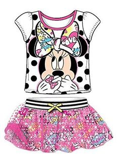 Disney Minnie Mouse T-Shirt Mesh Sleeve & Comic Printed skirt