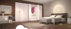 Der Nischenschrank im Dekor Hochglanz Weiß passt millimetergenau in die Zimmernische im Schlafzimmer. Passend zu Schrank runden die beiden Kommoden das Gesamtbild harmonisch ab.