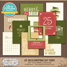"LIP: Hello Christmas 3x4"" Title Cards  from Peppermint Creative #pocketstyle #projectlife #christmas"