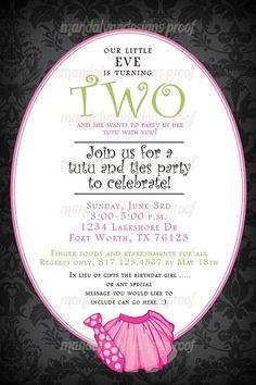 Ties and Tutu's Birthday Invitation.