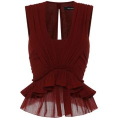Isabel Marant Cotton Gauze Grayton Top In Rust ($1,000) ❤ liked on Polyvore featuring tops, blouses, shirts, blusas, gauze shirt, red peplum shirt, cotton shirts, red shirt and cotton blouse