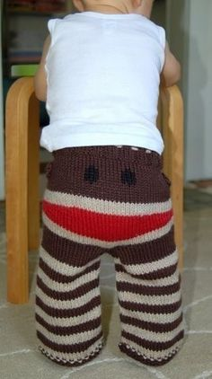 Sock Monkey pants - how stinkin' cute are these?! Instead of knit/crochet, sew from old t-shirts or other comfy fabric. Heck, I want a pair! ;o)