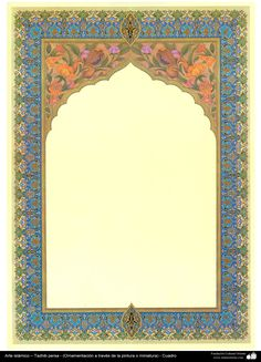 Islamic Art - Persian Tazhib - (ornamentation through painting or miniature) Calligraphy Borders, Islamic Calligraphy, Islamic Art Pattern, Pattern Art, Jack Sparrow Tattoos, Turkish Art, Writing Art, History Projects, Borders And Frames
