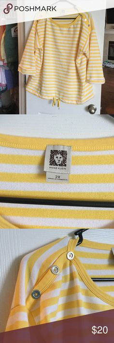 Anne Klein nautical striped shirt like new! Nautical inspired top with button detailing and drawstring at waist. Sweater like material. 3/4 length sleeves. Anne Klein Sweaters Crew & Scoop Necks