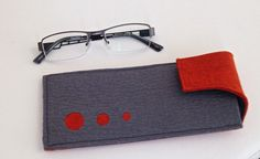 Eyeglass case in Heathered Orange and Gray w/flap by Newleafworks
