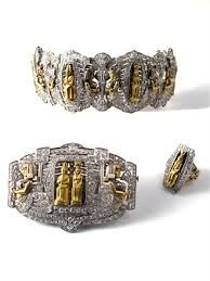 Egyptian Revival Art Deco Diamond Parure