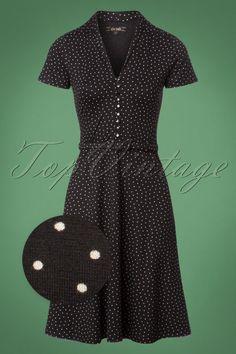 04044b735d031a 60s Emmy Little Dots Dress in Black